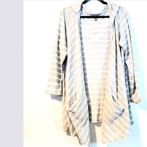 2X Olivia Sky Gray & White Striped French Terry Cascading Cardigan with Pockets